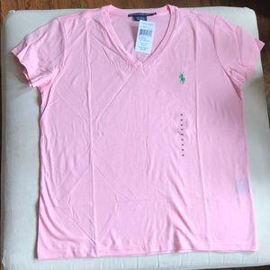 Ralph Lauren M pale pink v neck t shirt